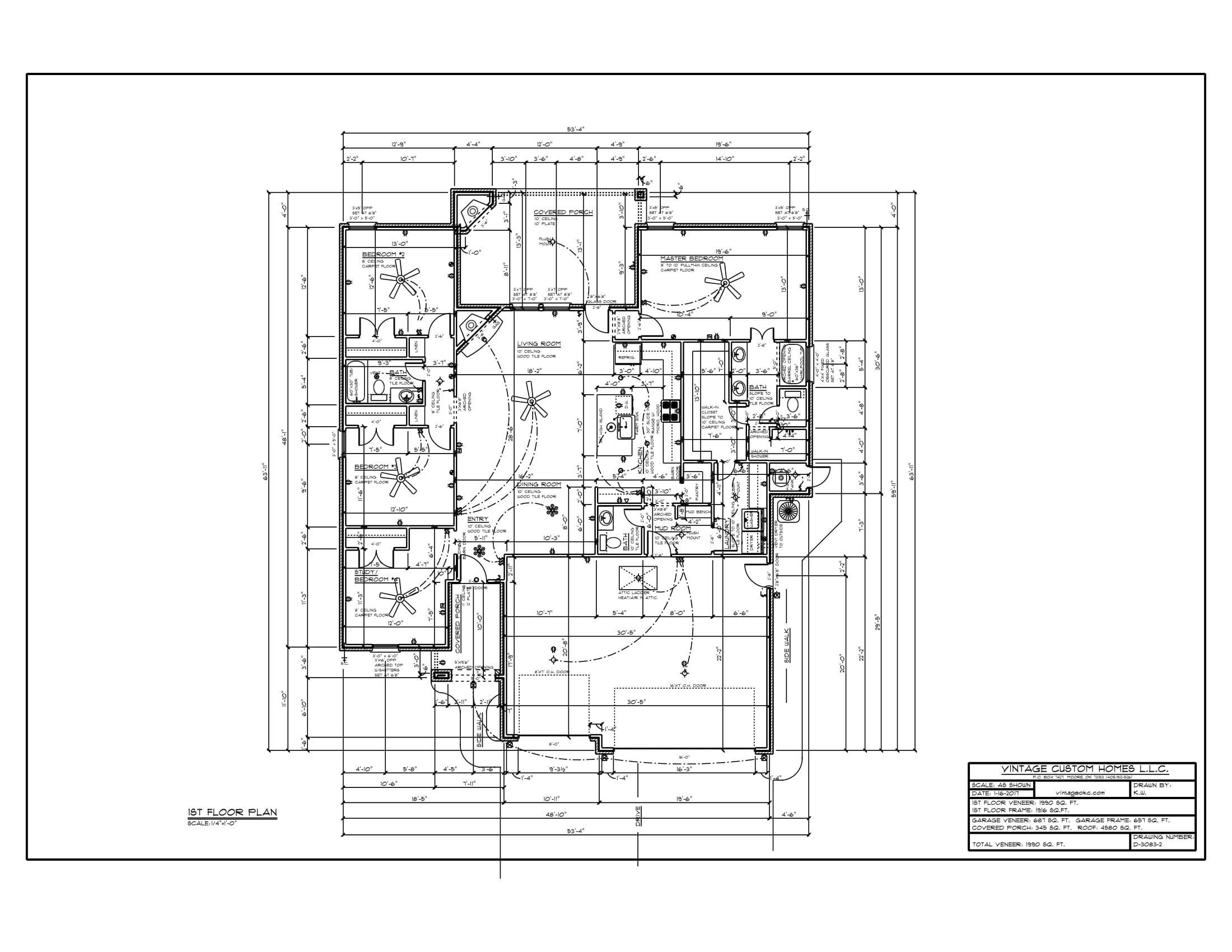 Floor Plan # D-3083-2 1990 sqft