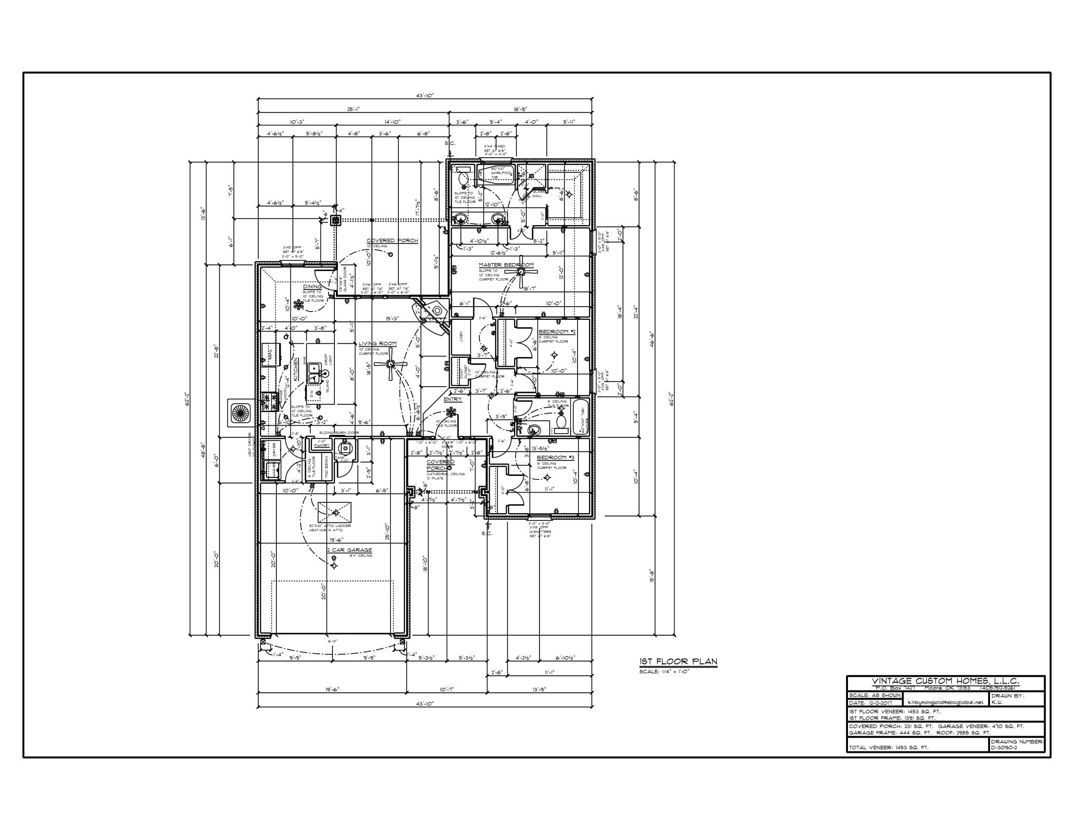 Floor Plan # D-3090-2 1453 sqft