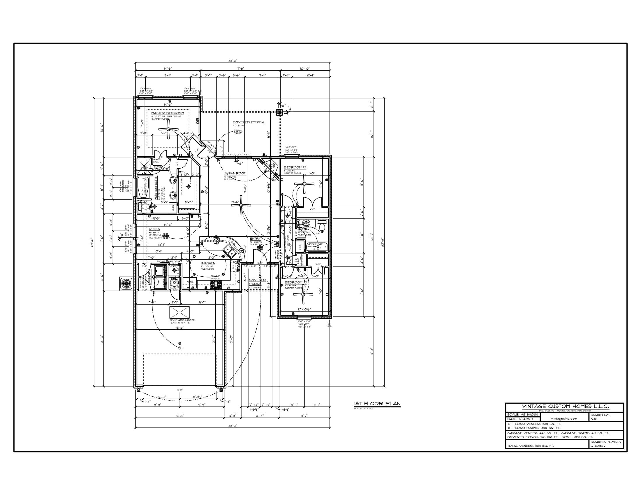 Floor Plan # D-3093-2 1518 sqft