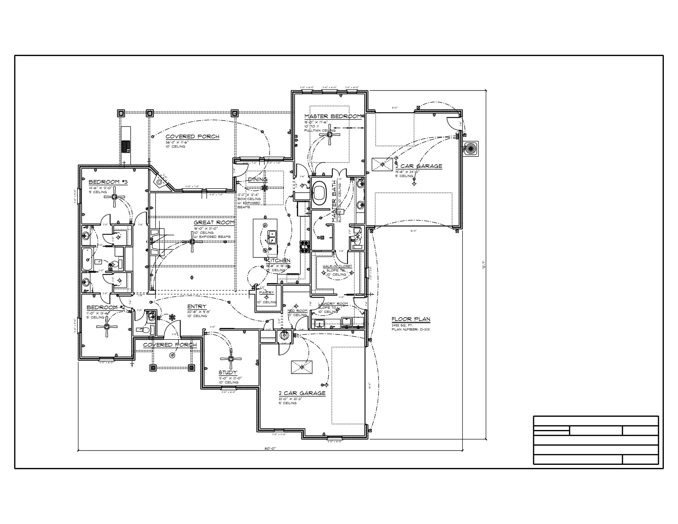 Floor Plan #D-3131 2492 sqft