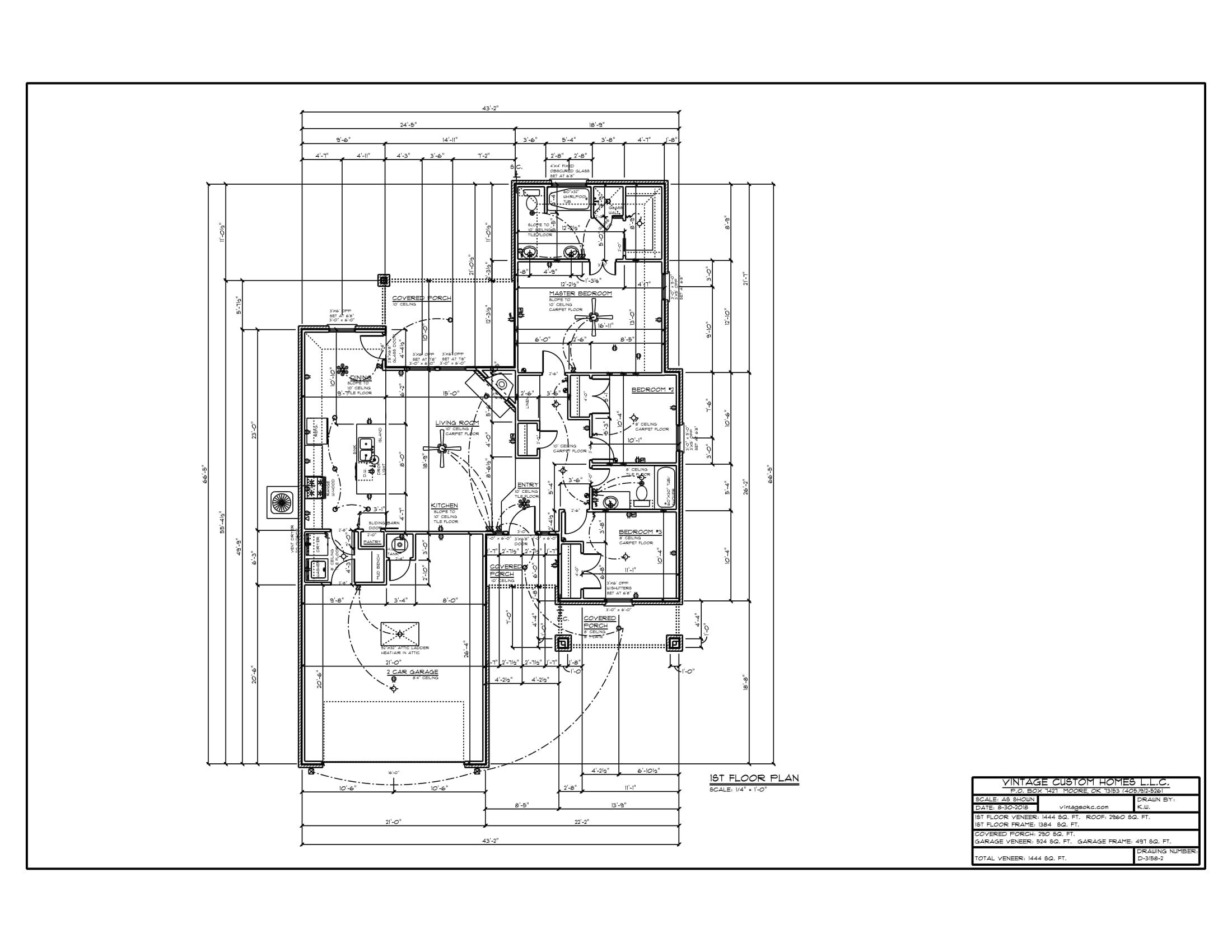 Floor Plan # D-3158-2 1444 sqft