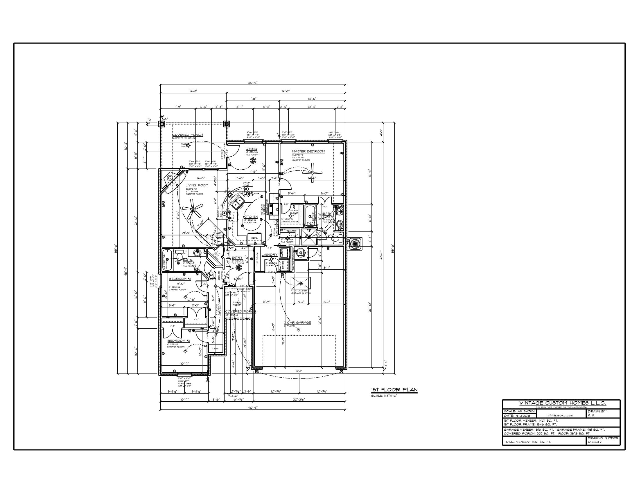 Floor Plan # D-3169-2 1401 sqft