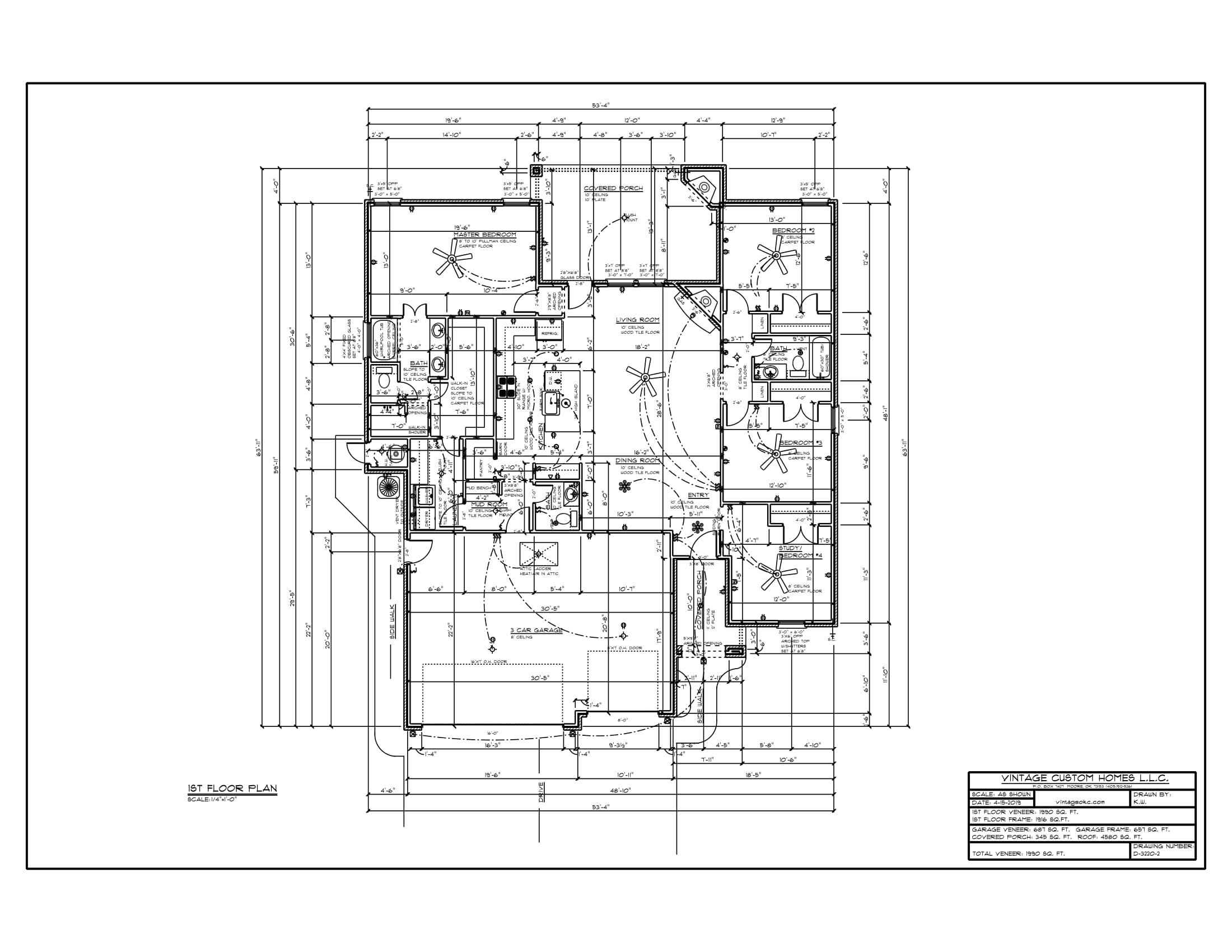Floor Plan # D-3220-2 1990 sqft