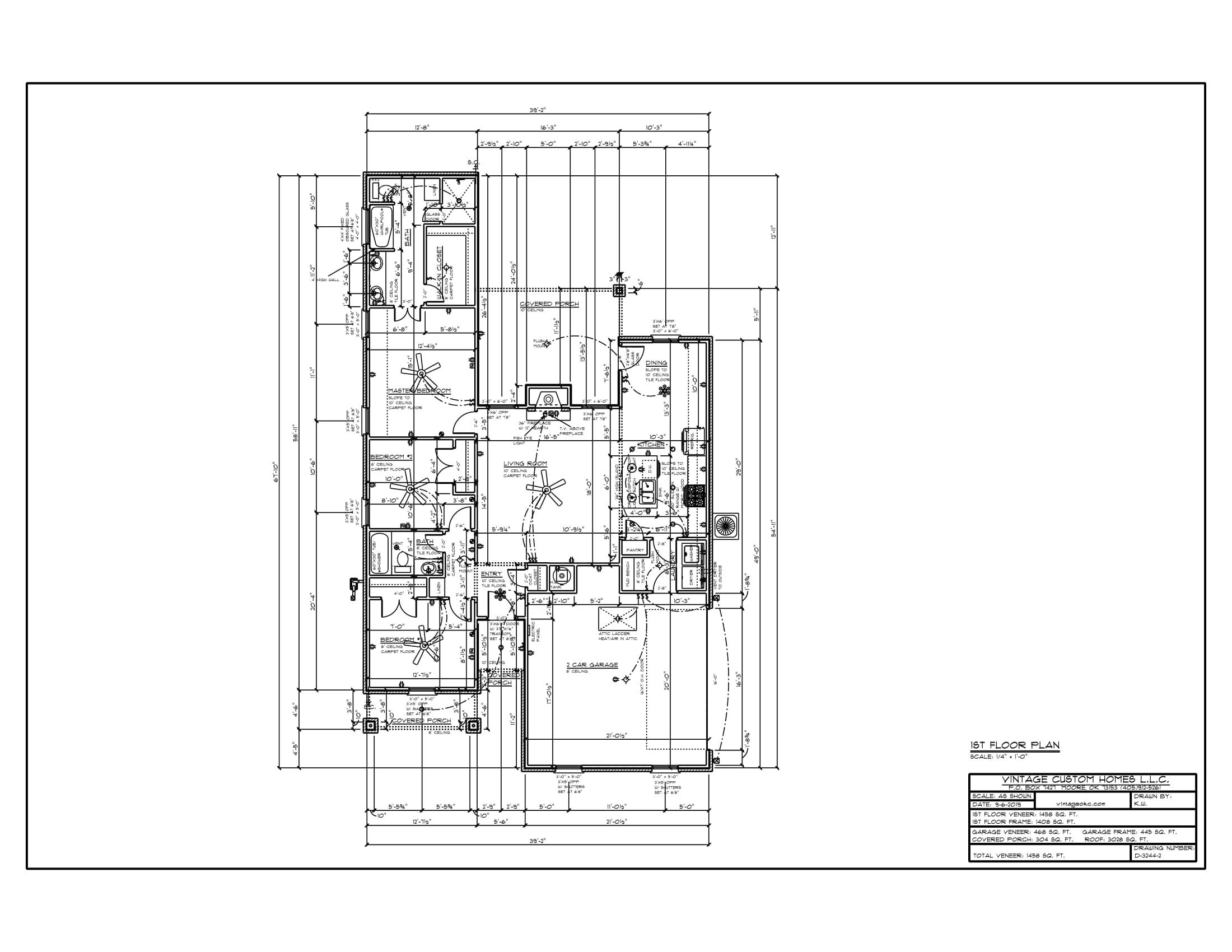 Floor Plan # D-3244 1458 sqft